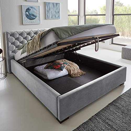 Designer Bett mit Bettkasten ELSA Samt-Stoff Polsterbett Lattenrost Doppelbett Stauraum Holzfuß schwarz (Grau, 140 x 200 cm)