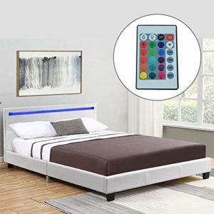ArtLife Polsterbett Verona 120 × 200 cm weiß   Bettgestell inkl. LED-Beleuchtung, Kunstleder & Lattenrost   Einzelbett Jugendbett Bett
