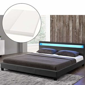 ArtLife LED Polsterbett Paris 140 × 200 cm mit Matratze und Lattenrost – Kunstleder Bezug & Holz Gestell – grau – modern & stabil - Einzelbett Jugendbett
