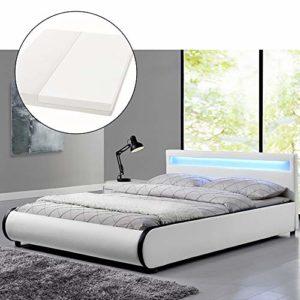ArtLife Polsterbett Sevilla 180 x 200 cm - Doppelbett mit Matratze, Lattenrost & LED – Holz & Kunstleder - weiß – Ehebett Kingsize Bett