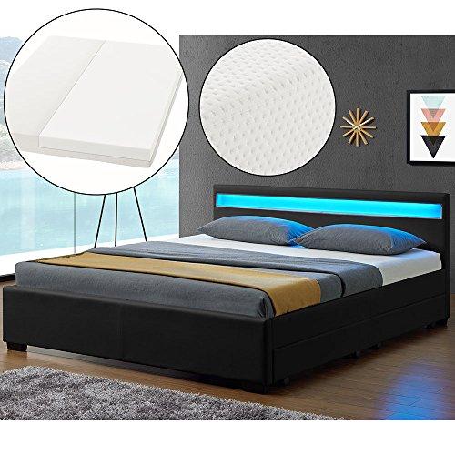 ArtLife LED Polsterbett Lyon 140 x 200 cm mit Bettkasten – Bettgestell inkl. Matratze & Lattenrost - Kunstleder – schwarz – Jugendbett Jugendzimmer Bett