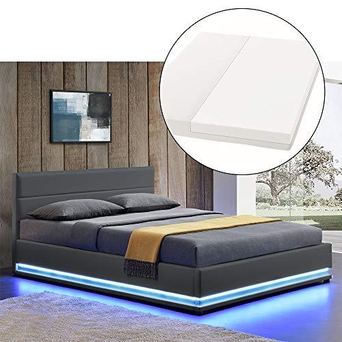 ArtLife LED Polsterbett Toulouse 140 × 200 cm mit Matratze, Lattenrost & Bettkasten - Kunstleder Bezug & Holz Gestell – grau – Bett Jugendbett