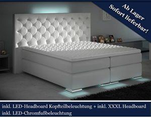 HG Royal XXXL Boxspringbett Designer Boxspring Bett LED Chesterfield (Weiß, 180x200)