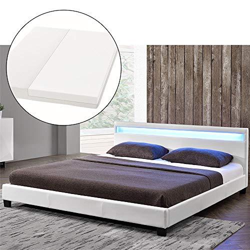 ArtLife Polsterbett Paris 180 x 200 cm mit Matratze, LED Beleuchtung und Lattenrost | Bettgestell aus Kunstleder & Holz | Bett modern & stabil weiß