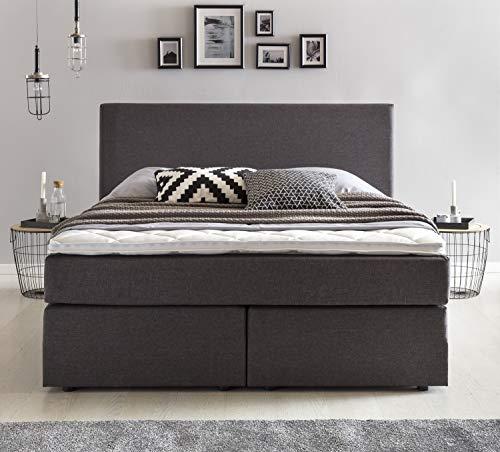 Furniture for Friends Möbelfreude® Boxspringbett Benno   140x200 cm Anthrazit H2   mit hochwertiger Bonell Federkernmatratze, Komfortschaum-Topper