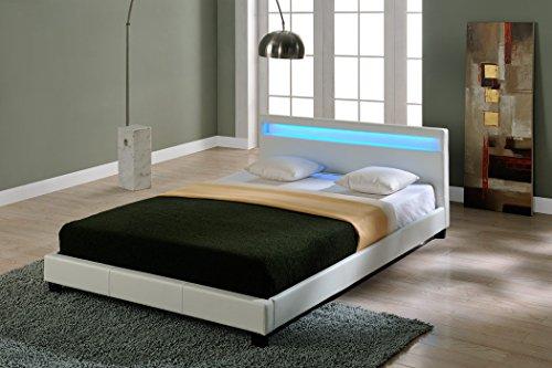 Corium LED Polsterbett Paris 140 x 200 cm Weiß Kunstleder mit Lattenrost und RGB Beleuchtung