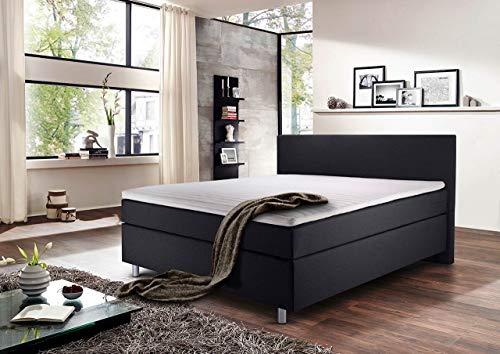 lifestyle4living Boxspringbett 140x200 grau anthrazit mit Kopfteil   Doppelbett mit Bonell-Federkern-Matratze, Härtegrad H2