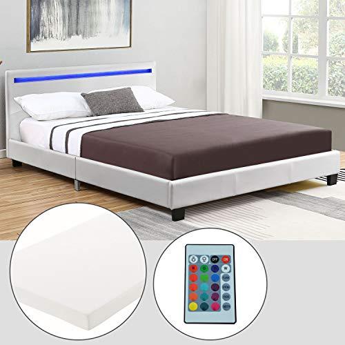 ArtLife Polsterbett Verona 120 × 200 cm - Bett komplett mit LED-Beleuchtung, Matratze und Lattenrost - Kunstleder Bezug - weiß – Jugendbett